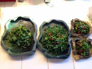 Final result: well mixed salad for juvenile iguanas is ready to serve.
